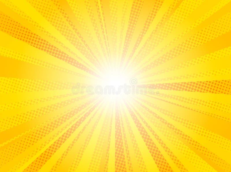 Retro disegno del kitsch dell'illustrazione di vettore del sole dei raggi di Pop art giallo comico del fondo illustrazione vettoriale