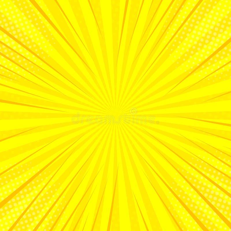 Retro disegno del kitsch dell'illustrazione del sole dei raggi di Pop art giallo comico del fondo royalty illustrazione gratis