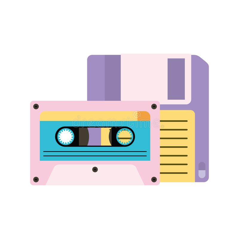 Retro diskette met cassette royalty-vrije illustratie