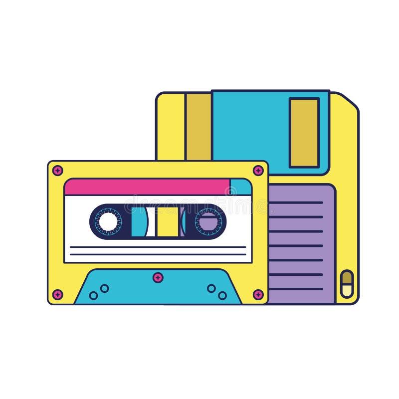 Retro diskette met cassette stock illustratie
