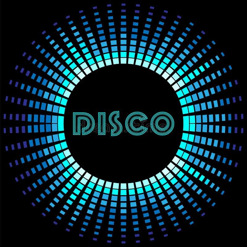 Retro diskobakgrund med soundwaveramen royaltyfri illustrationer