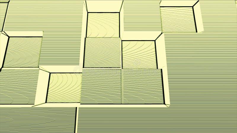Retro diskostilkvarter med linjer och guling och vit för oväsenrörelsebakgrund Abstrakt 3d skära i tärningar flyttning upp och ne royaltyfri illustrationer