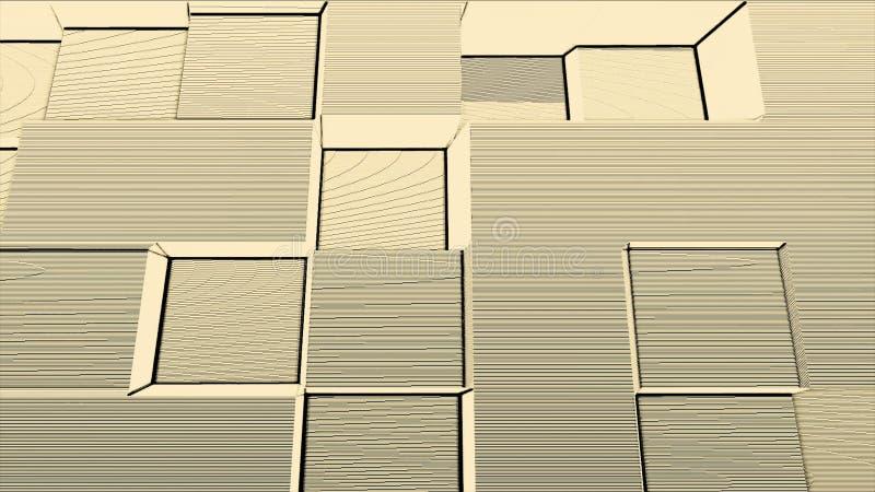 Retro diskostilkvarter med linjer och guling och vit för oväsenrörelsebakgrund Abstrakt 3d skära i tärningar flyttning upp och ne stock illustrationer