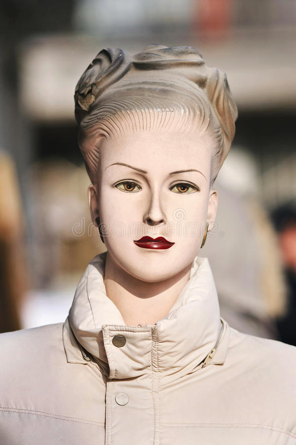 Retro display mannequin at a Chinese outdoor market, Beijing, China stock images