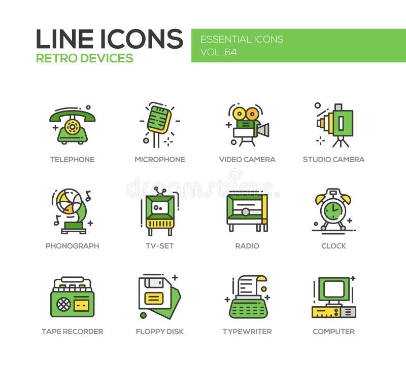 Retro dispositivi - linea icone di progettazione messe royalty illustrazione gratis