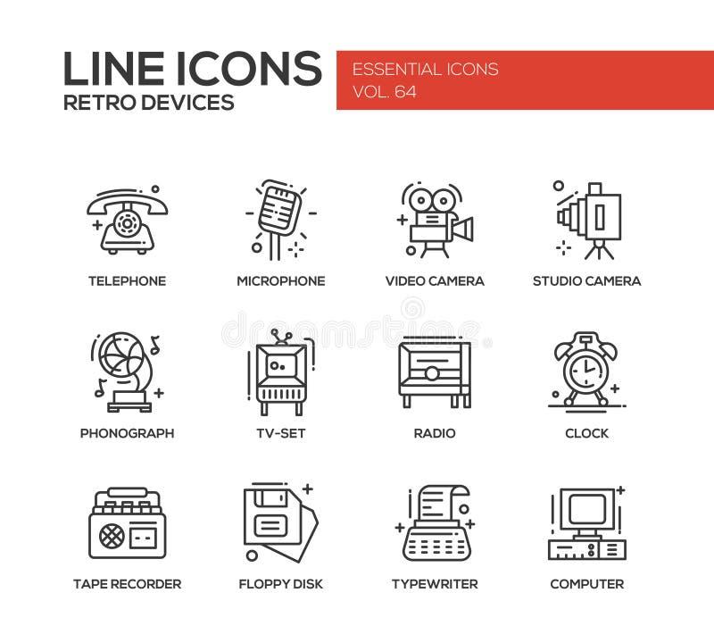 Retro dispositivi - linea icone di progettazione messe illustrazione di stock