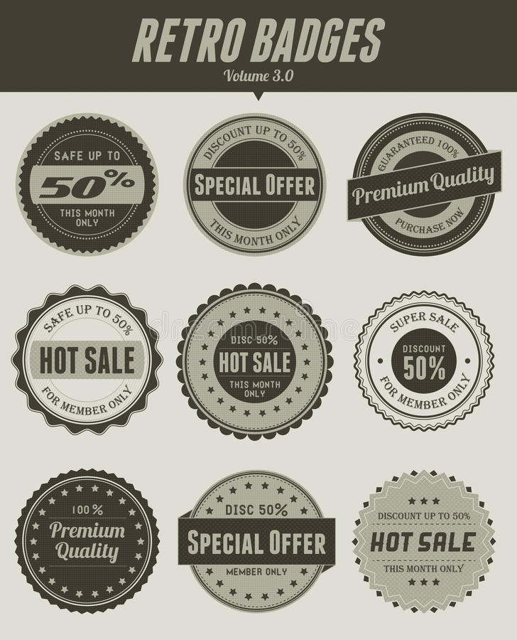 Download Retro distintivi illustrazione vettoriale. Illustrazione di sconto - 30830449