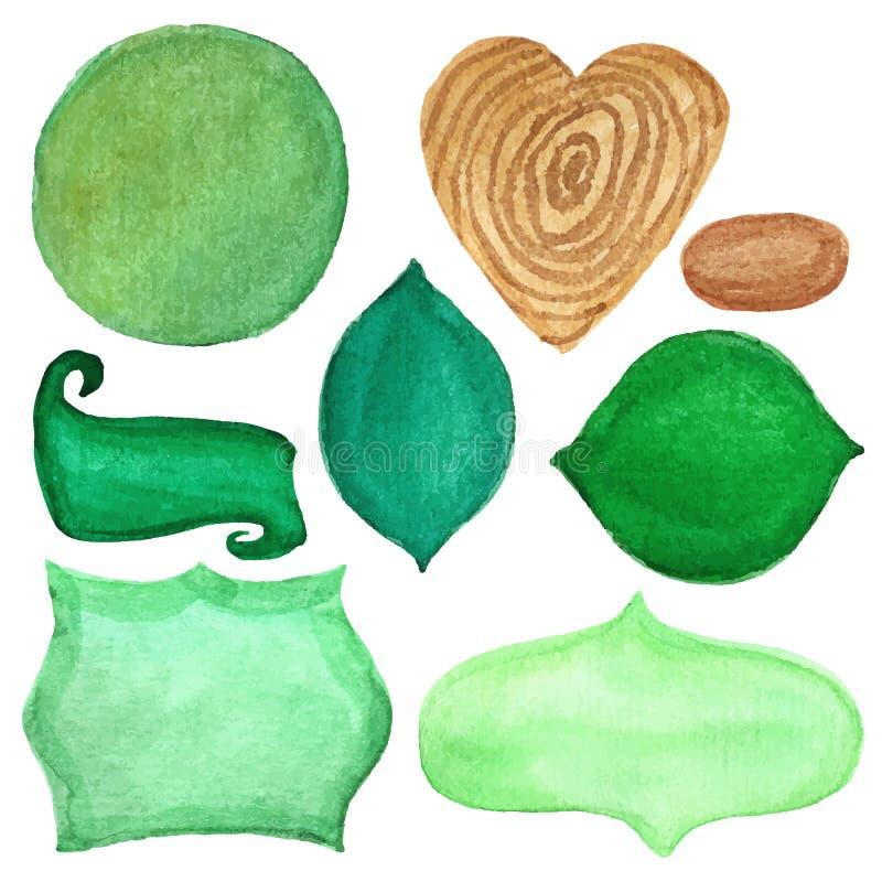 Retro distintivi dell'acquerello, etichette Insieme di verde illustrazione vettoriale