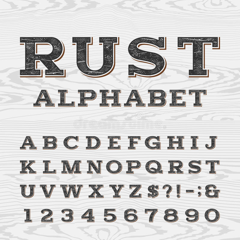 Retro distressed alphabet vector font. vector illustration