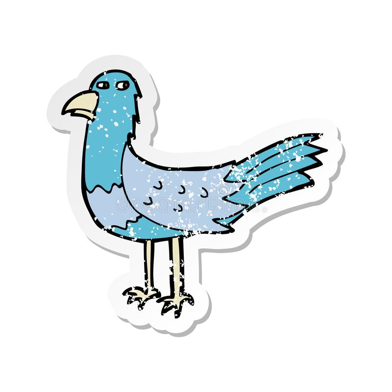 retro distressed sticker of a cartoon bird stock illustration