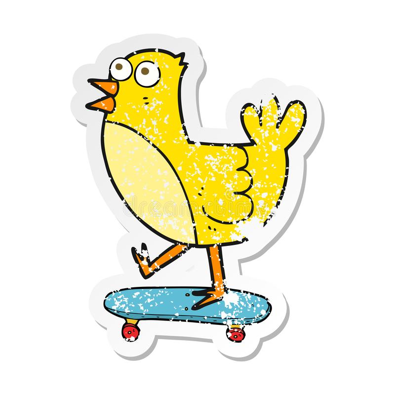 Retro distressed sticker of a cartoon bird on skateboard. A creative illustrated retro distressed sticker of a cartoon bird on skateboard royalty free illustration