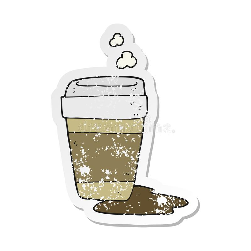 retro distressed sticker of a cartoon coffee cup royalty free illustration