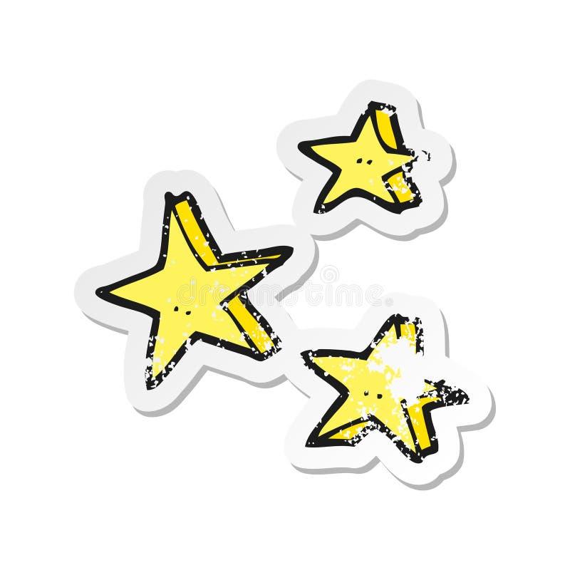 Retro distressed sticker of a cartoon decorative doodle stars. Illustrated retro distressed sticker of a cartoon decorative doodle stars stock illustration
