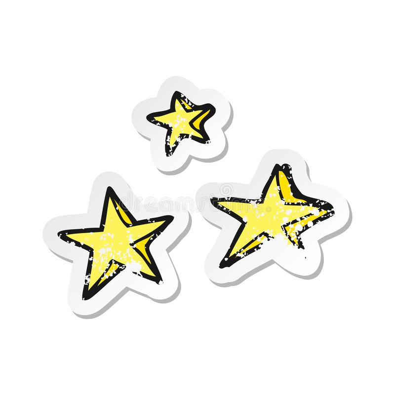 Retro distressed sticker of a cartoon decorative stars doodle. A creative illustrated retro distressed sticker of a cartoon decorative stars doodle royalty free illustration