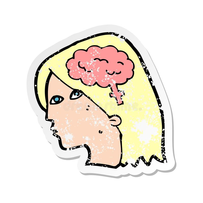 Retro distressed sticker of a cartoon female head with brain symbol. A creative illustrated retro distressed sticker of a cartoon female head with brain symbol stock illustration