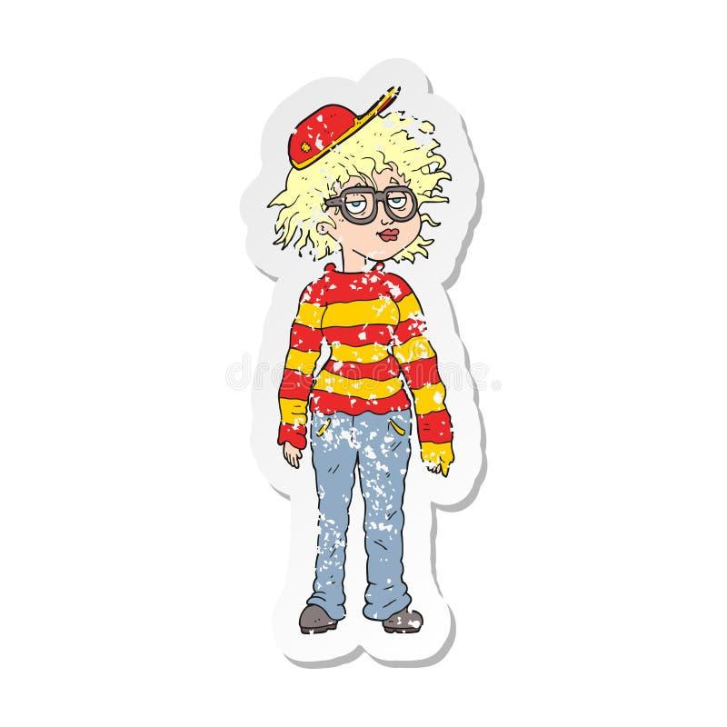 retro distressed sticker of a cartoon geeky girl vector illustration