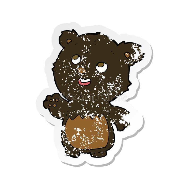 Retro distressed sticker of a cartoon happy little teddy black bear. A creative retro distressed sticker of a cartoon happy little teddy black bear vector illustration
