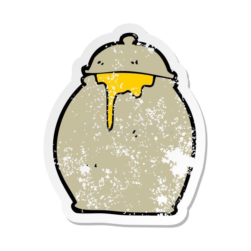 retro distressed sticker of a cartoon honey pot vector illustration