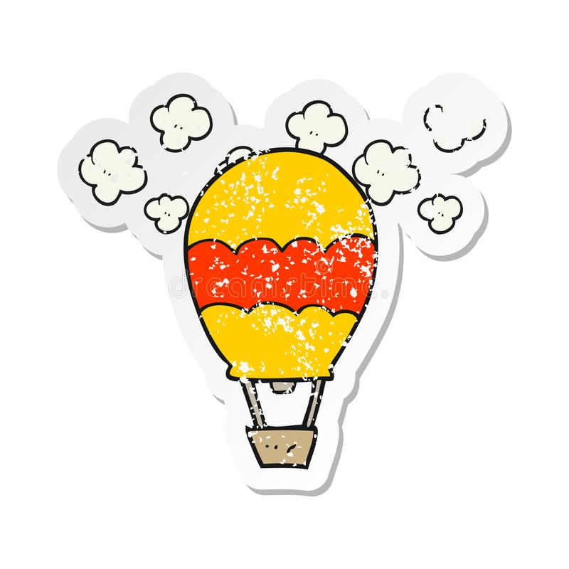 retro distressed sticker of a cartoon hot air balloon royalty free illustration