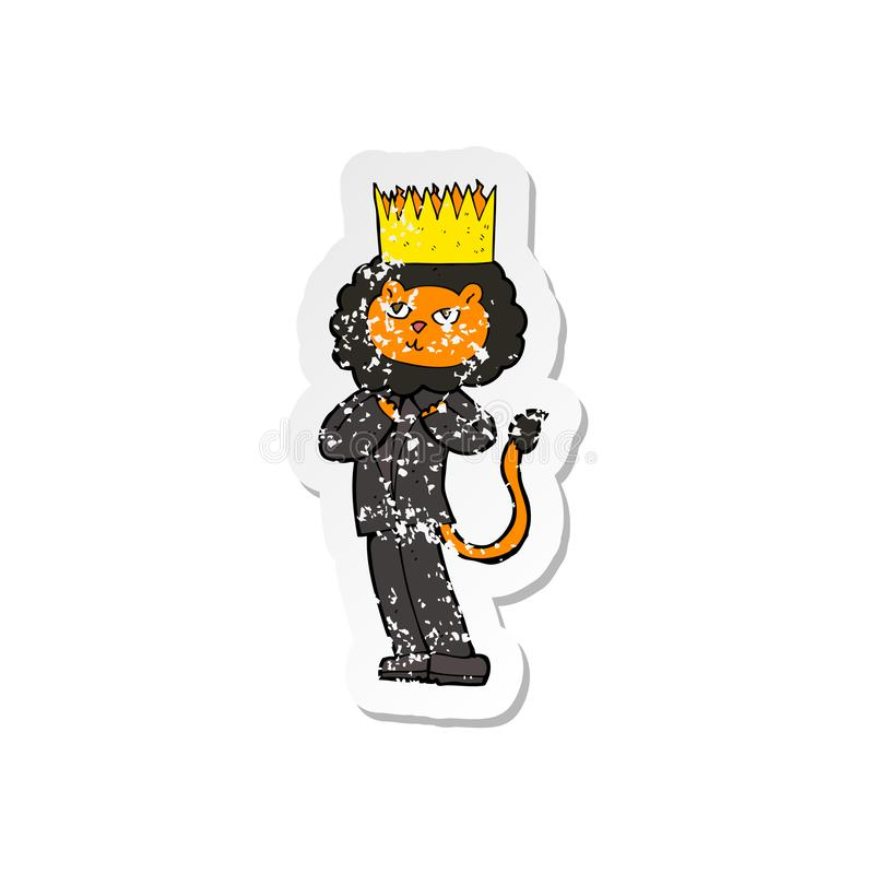 Retro distressed sticker of a cartoon king of the beasts. A creative illustrated retro distressed sticker of a cartoon king of the beasts stock illustration