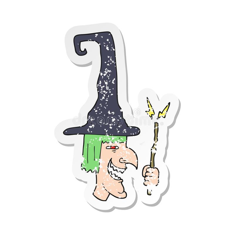 retro distressed sticker of a cartoon laughing witch stock illustration