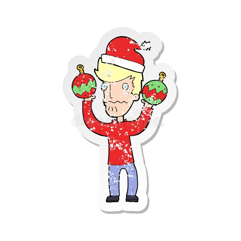 Retro distressed sticker of a cartoon man with christmas baubles. A creative illustrated retro distressed sticker of a cartoon man with christmas baubles vector illustration