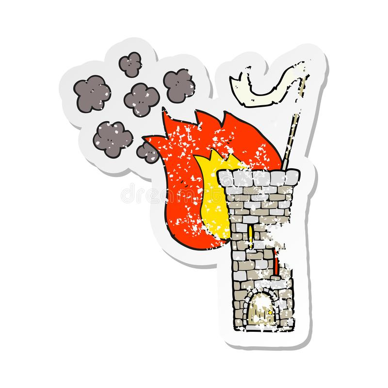 retro distressed sticker of a cartoon old castle tower waving white flag royalty free illustration