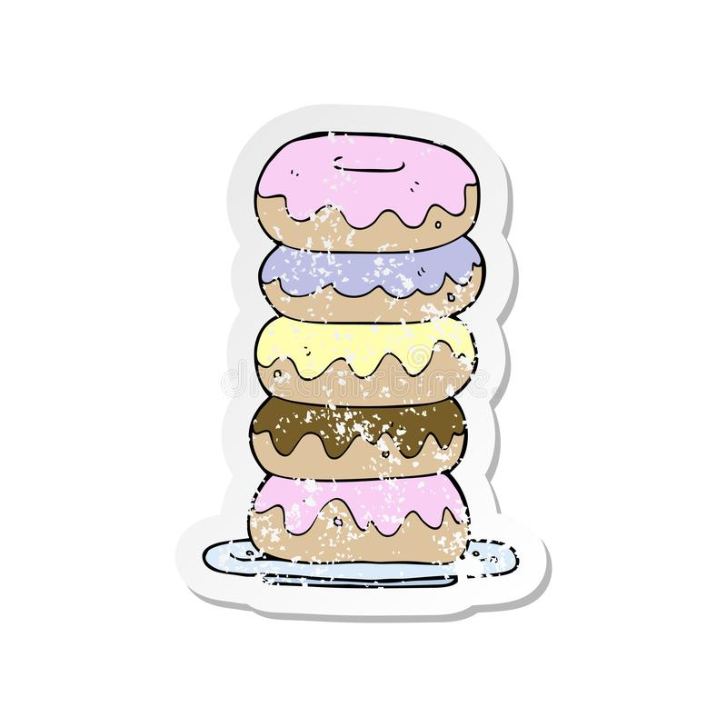 retro distressed sticker of a cartoon plate of donuts vector illustration