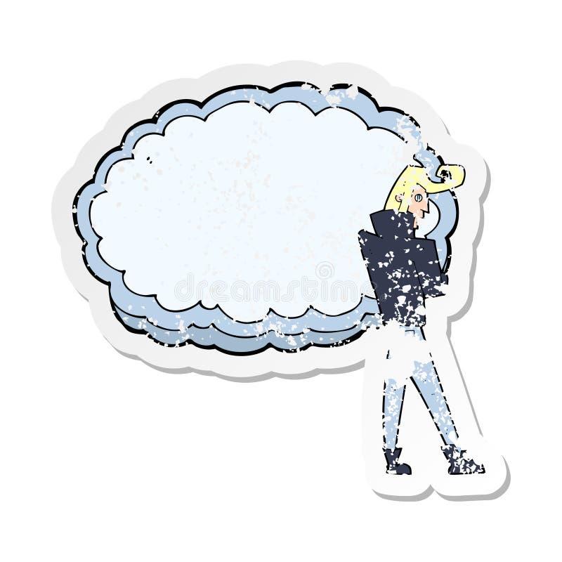 Retro distressed sticker of a cartoon rocker with cloud. A creative illustrated retro distressed sticker of a cartoon rocker with cloud vector illustration