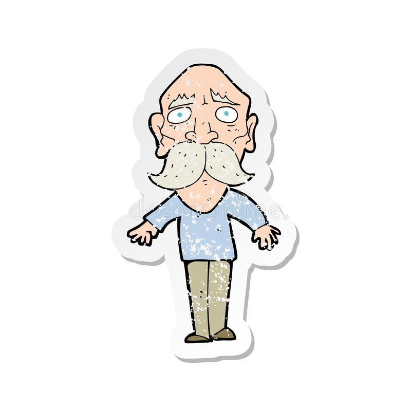 Retro Distressed Sticker Of A Cartoon Sad Old Man Stock Vector Illustration Of Drawn Design 147702121