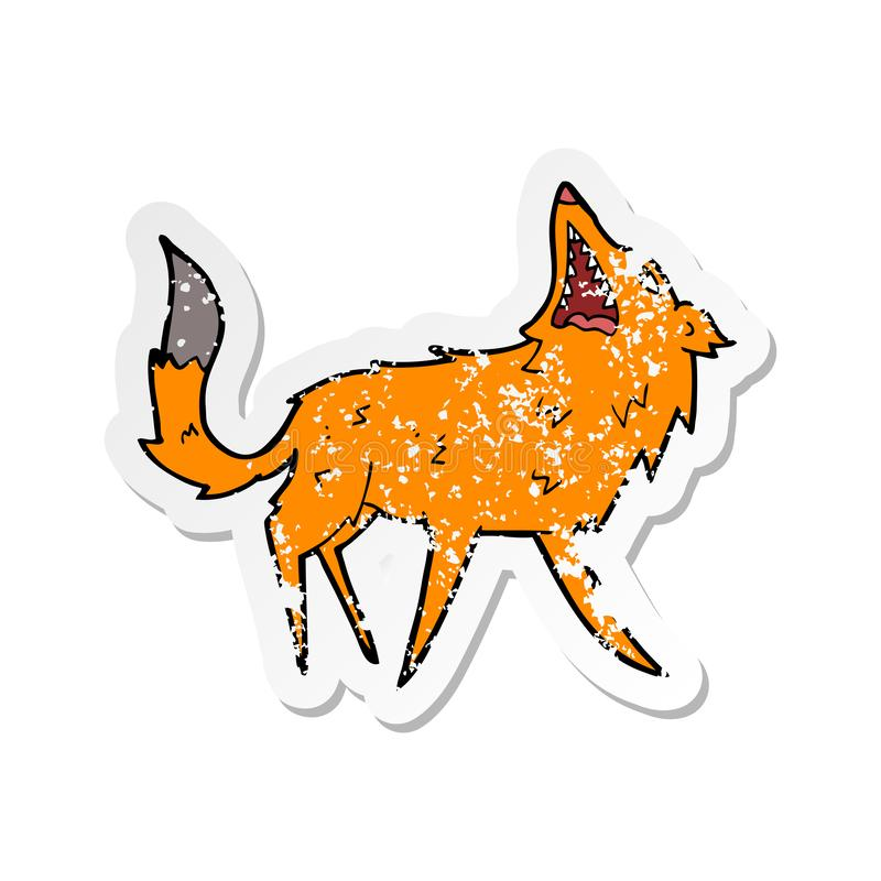 Retro distressed sticker of a cartoon snapping fox. A creative illustrated retro distressed sticker of a cartoon snapping fox vector illustration