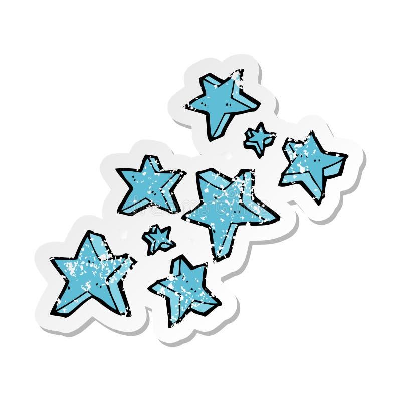 Retro distressed sticker of a cartoon stars. A creative illustrated retro distressed sticker of a cartoon stars stock illustration