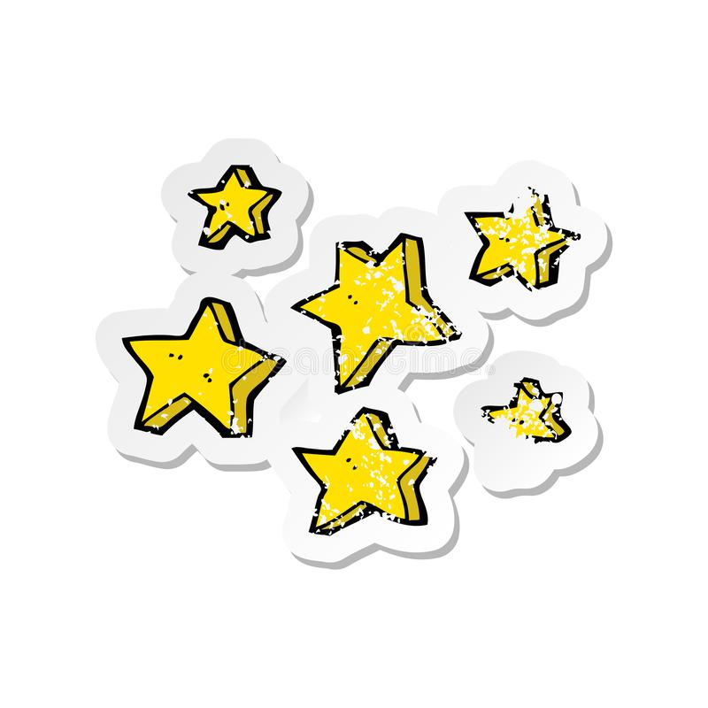 Retro distressed sticker of a cartoon stars. A creative illustrated retro distressed sticker of a cartoon stars vector illustration