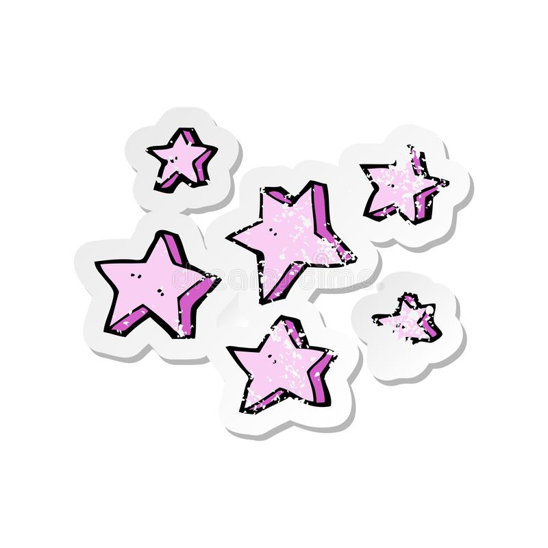 Retro distressed sticker of a cartoon stars. Illustrated retro distressed sticker of a cartoon stars stock illustration