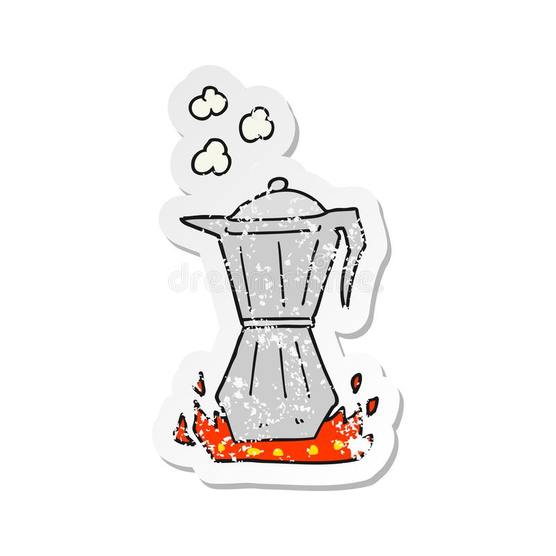 Retro distressed sticker of a cartoon stovetop espresso maker. A creative retro distressed sticker of a cartoon stovetop espresso maker stock illustration