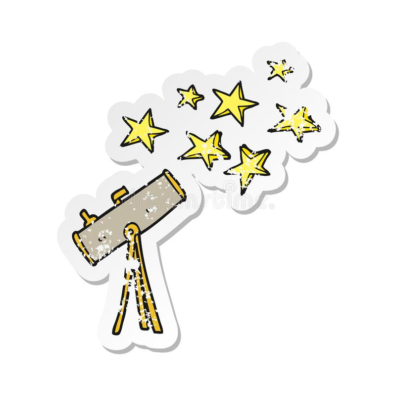 Retro distressed sticker of a cartoon telescope and stars. A creative illustrated retro distressed sticker of a cartoon telescope and stars stock illustration