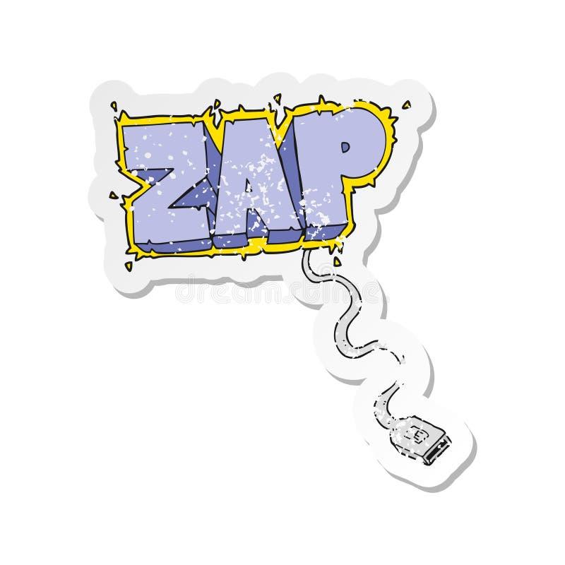 Retro distressed sticker of a cartoon usb cable. A creative illustrated retro distressed sticker of a cartoon usb cable stock illustration