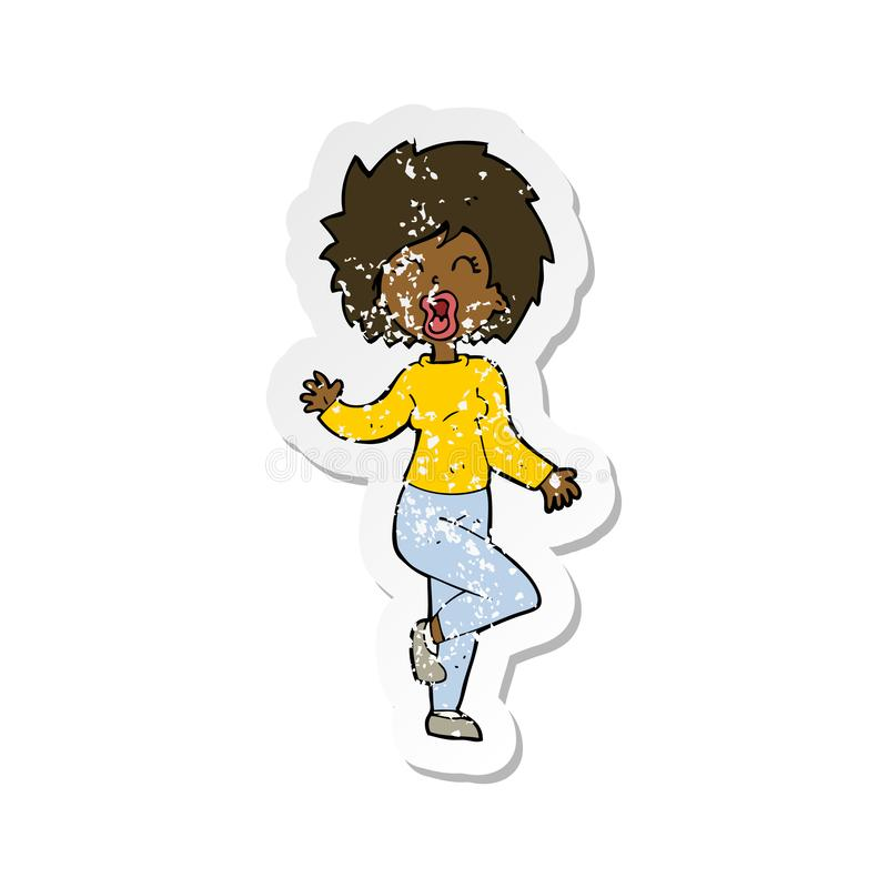 Retro distressed sticker of a cartoon woman dancing. A creative retro distressed sticker of a cartoon woman dancing stock illustration