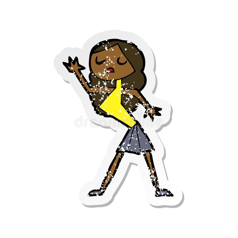 Retro distressed sticker of a cartoon woman dancing. Illustrated retro distressed sticker of a cartoon woman dancing royalty free illustration