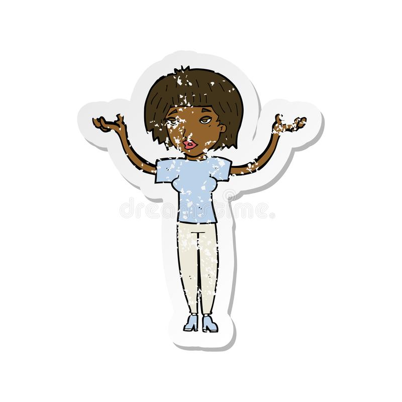retro distressed sticker of a cartoon woman shrugging shoulders vector illustration