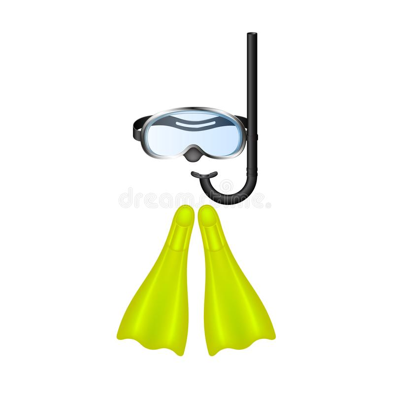 Retro diving goggles with yellow flippers. On white background vector illustration