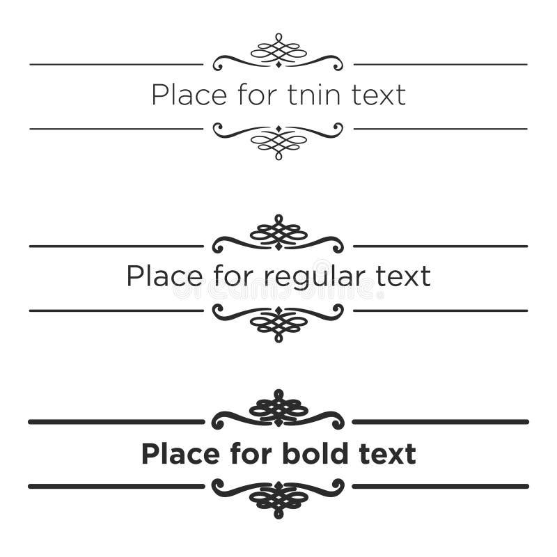 Retro divisori del testo messi Elementi d'annata del confine Dimensione differente del colpo per sottile, del regular e del testo illustrazione di stock