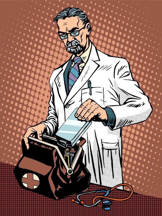 Retro doctor ambulance stock illustration