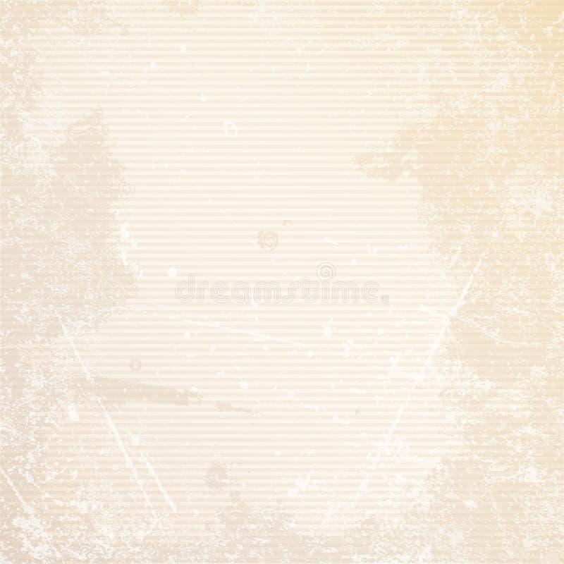 Retro Document Horizontale Lijnenkrassen Als achtergrond en Vlekkenbeige stock illustratie