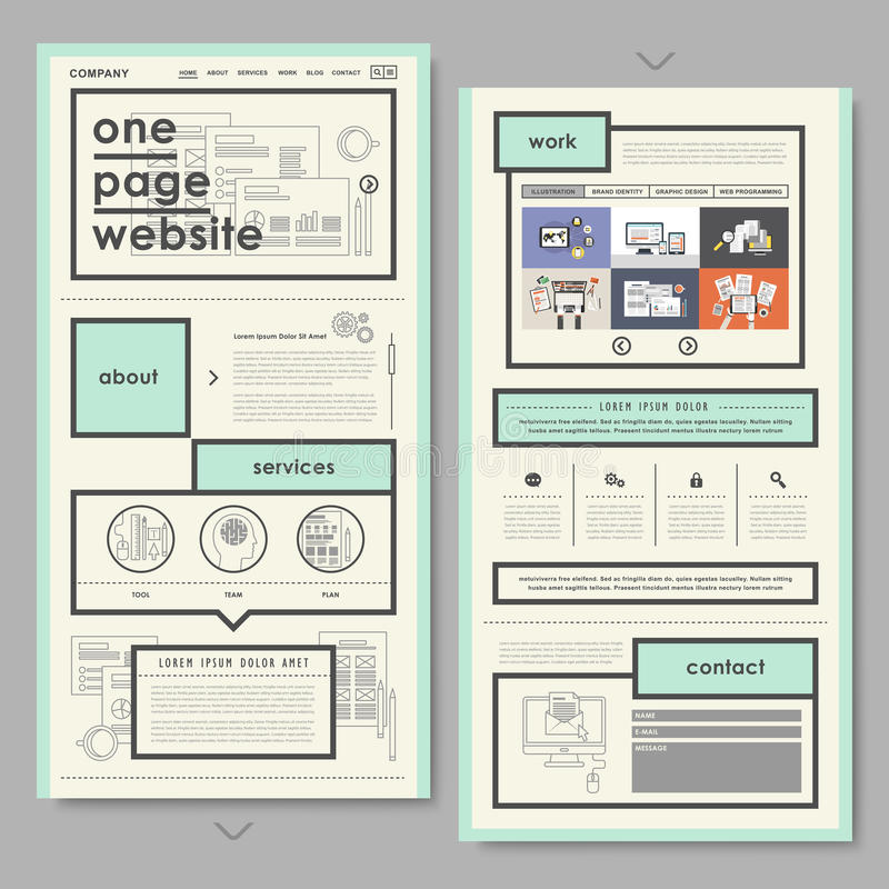 Retro document style one page website design royalty free illustration