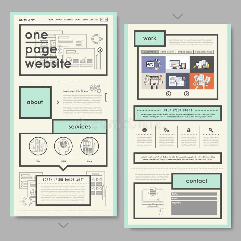 Retro documentstijl één het ontwerp van de paginawebsite royalty-vrije illustratie