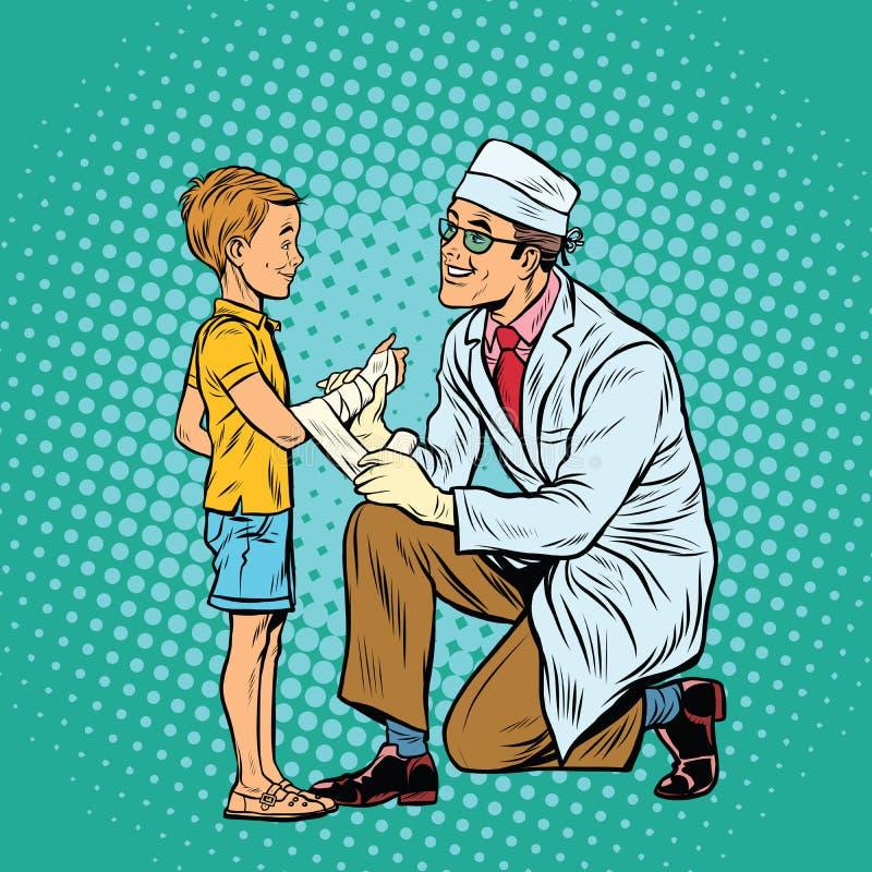 Retro doktorska bandażuje chłopiec raniąca ręka ilustracja wektor