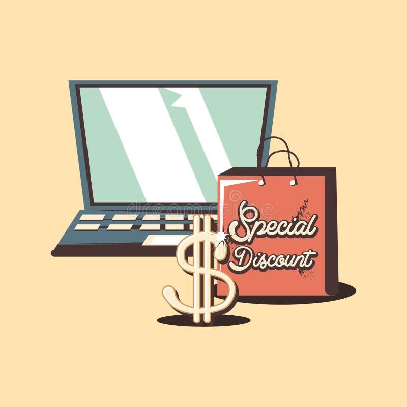 Retro dollar för special rabatt för shoppingbärbar dator stock illustrationer