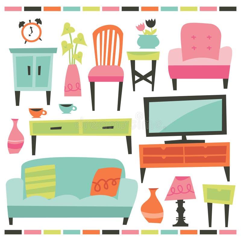 Retro Domowy Żywy meble set ilustracji