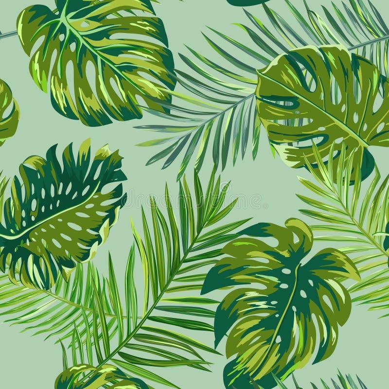 Retro donker palmbladenpatroon als achtergrond, de tropische textuur van de wildernisillustratie voor behang, druk, brochure, ont vector illustratie